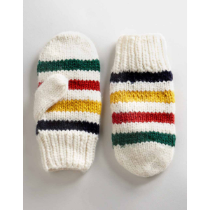 Hudsons Bay Multi Stripe Handknit Mitts Large/Xlarge