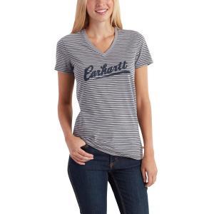 Carhartt Women's Wellton Short Sleeve Striped Logo T-Shirt