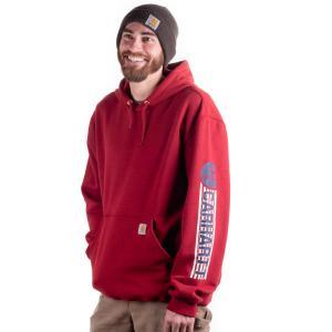 Carhartt Men's Workwear Graphic Red White Blue Hooded Sweatshirt