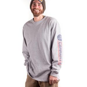 Carhartt Men's Workwear Graphic Red White Blue Long Sleeve Crewneck