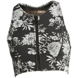Women's Amuse Society Laka Floral Cropped Neoprene Vest - Medium in Black | Nylon/Neoprene