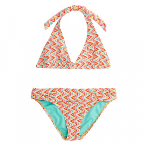 Roxy Catching Waves Halter Bikini Top and Bottom Set (Ages 8 16) Girls'
