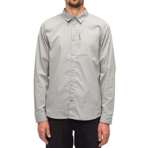 Image of 686 Everywhere Snap-Up Long-Sleeve Shirt 2021 - Medium Gray in Grey | Nylon/Spandex