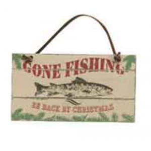Gone Fishing Be Back by Christmas Ornament