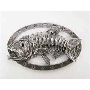 Pewter Premium Skeleton Fish - Oval Ornament.