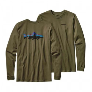 Patagonia Men's Long Sleeved Fitz Roy Trout Cotton T-Shirt Closeout Sale