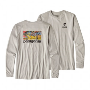 Patagonia Men's Long Sleeved Eye of Brown World Trout Cotton T-Shirt Closeout Sale