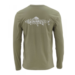 Simms Woodblock Trout Long Sleeved T-shirt Closeout Sale(3-5-18)