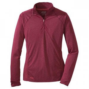 Essence Long Sleeve Zip Top - Women's: Save 30% Off - Light, soft and quick to dry, the Outdoor Research Essence Long-Sleeve Zip-Top features the performance of a merino wool blend and the feel of cotton. The active cut fits more like your favorite tee-shirt than a piece of technical wear. As a baselayer or mid-layer, this moisture-wicking merino wool blend provides warmth on cool evenings without being hot under the mid-day sun.