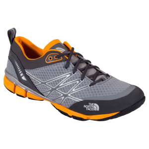 ultra kilowatt trail running shoe - men's- Save 24% Off - The premier minimalist shoe for the mountain athlete, the men's Ultra Kilowatt from The North Face delivers performance, support, and breathability with Pebax CRADLE technology, a superlight Ultra Airmesh upper and a durable Vibram ousole. The FlashDry upper wicks sweat to reduce the chance of blisters while a Pebax plate and CRADLE technology underfoot provide energy return and proper foot placement for superior impact protection and support. An exclusive Vibram rubber outsole grips the trail securely.