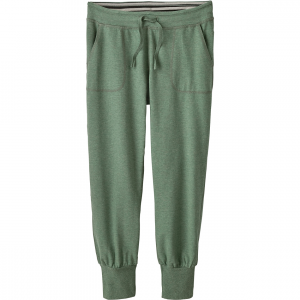 Ahnya Pant - Women's: Save 30% Off - Styled with an easy yet flattering fit, the Patagonia Ahnya Pants have a slim leg, low rise, and are made with 7.7-oz 57% organic cotton/38% polyester/5% spandex melange fleece. The waistband is adjustable with a drawstring and features a striped waistband detail inside. With a flattering back yoke, two front pockets and stretchy four-inch cuffs.