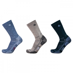hiking tech medium crew 3-pack- Save 29% Off - The Point 6 Hiking Tech Medium Crew sock offers extra cushioning on the instep and around the leg to protect against pressure points from heavier footwear. The cozy wool cushioning next to the skin insulates the foot from hot spots.