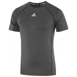 Adidas Mens Fitted Short Sleeve Shirt - Dark Grey