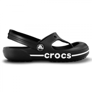 Crocs Youth Crocband Toe Bumper Flip - Black / Black