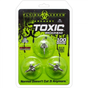 Flying Arrow Archery Toxic 100 Grain Silver Broadhead ( 3 - Pack ) - Silver