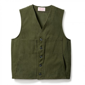 Filson Men ' S Moleskin Vest - Dark Green