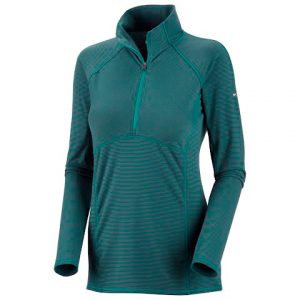 Columbia Women ' S Layer First Sripe 1 / 2 Zip - Emerald