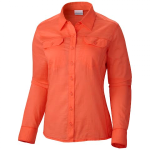 Columbia Women ' S Camp Henry Long Sleeve Shirt - Coral Flame