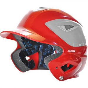 All Star Men ' S Bh3000tt Two Toned Batting Helmet - Scarlet / Silver