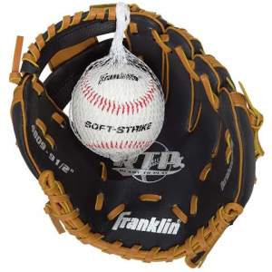 Franklin Youth Tee Ball Performance Series 9 . 5 '' Baseball Glove With Ball ( Black / Tan ) -