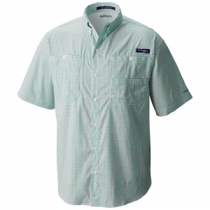 Columbia Men ' S Pfg Super Tamiami Short Sleeve - Gem Stone Gingham