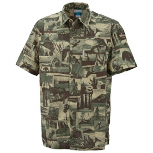 Columbia Mens False Peak Print Short Sleeve Shirt - Grasshopper