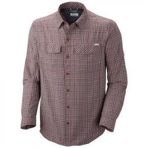 Columbia Men ' S Silver Ridge Plaid Long Sleeve Shirt ( Extended Sizes ) - Red Rocks