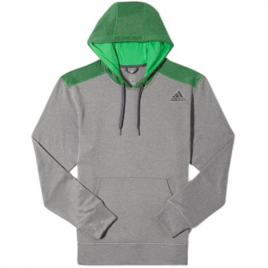 Adidas Men ' S Ultimate Pull Over Hoodie - Charcoal / Green