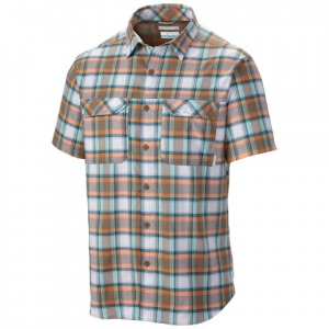 Columbia Men ' S Royce Peak Ii Plaid Short Sleeve Shirt - Wet Sand