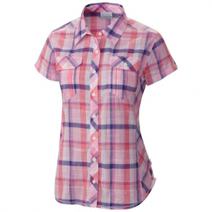 Columbia Women ' S Camp Henry Short Sleeve Shirt ( Extended Size ) - Orchid Purple Plaid