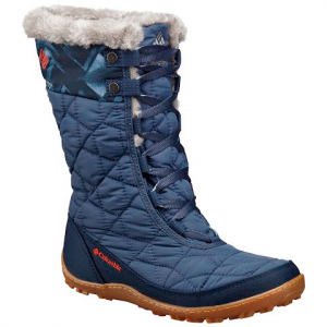 Columbia Women ' S Minx Mid Ii Omni - Heat Print Winter Boot - Dark Mountain / Spicy