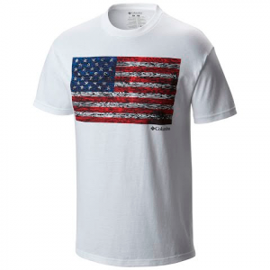 Columbia Men ' S Csc Tree Flag Tee Shirt - White