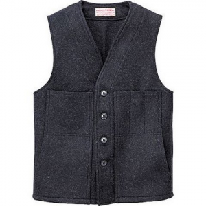 Filson Mens Mackinaw Wool Vest - Charcoal