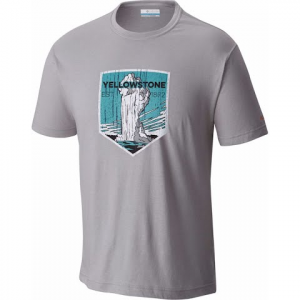 Columbia Men ' S National Parks Short Sleeve T - Shirt - Grey Heather Yellowstone