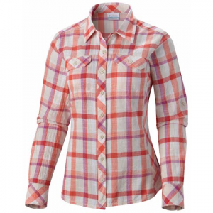 Columbia Women ' S Camp Henry Long Sleeve Shirt ( Extended Size ) - Coral Flame Plaid