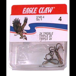 Eagle Claw 2x Treble Hooks ( Qty 5 )
