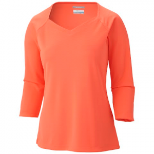 Columbia Women ' S Skiff Guide 3 / 4 Sleeve Top - Coral Flame
