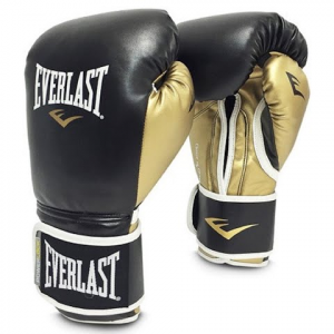 Everlast Women ' S Powerlock Hook And Loop Training Gloves - Black / Gold