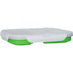 Eco Vessel Collapsible Silicone Double Compartment Lunchbox - Green