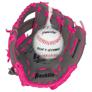 Franklin Youth Teeball Performance Series 9 . 5 In . Baseball Glove With Ball - Graphite / Pink