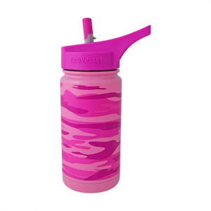 Eco Vessel Frost Triple Insulated Stainless Steel Water Bottle With Flip Spout 13 Oz - Pink
