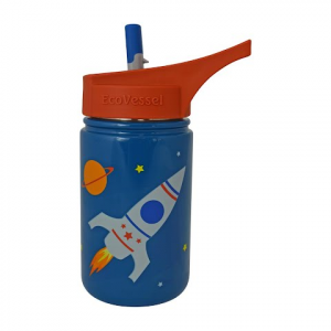 Eco Vessel Scout 13 Oz Stainless Steel Water Bottle With Flip Straw - Blue Rocketship