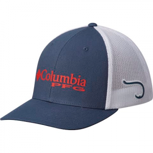 Columbia Men ' S Pfg Mesh Ball Cap - Dark Mountain / Sunset Red