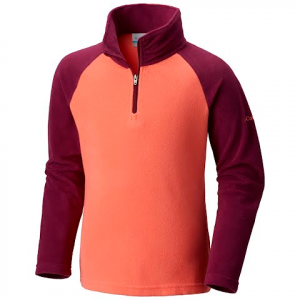 Columbia Girl ' S Youth Glacial Fleece Half Zip - Hot Coral / Dark Raspberry