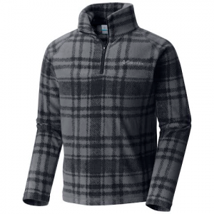 Columbia Youth Boy ' S Glacial Ii Print Half Zip Fleece Pullover - Graphite Plaid