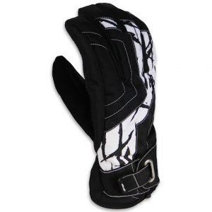 Drop Opener Series Gauntlet Snow Gloves - Black / White