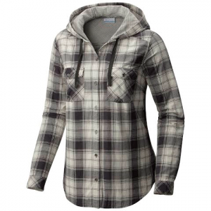 Columbia Women ' S Times Two Hooded Long Sleeve Flannel Shirt - Chalk / Boyfriend Plaid
