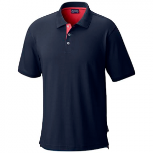 Columbia Men ' S Pfg Harborside Polo Shirt - Collegiate Navy / Sunset Red