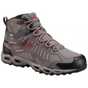 Columbia Men ' S Venfreak Mid Outdry Hiking Shoe - Light Grey / Rocket