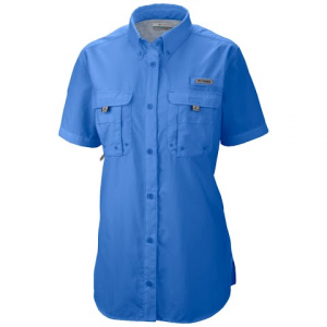 Columbia Women ' S Bahama Pfg Short Sleeve Shirt ( Extended Sizes ) - Blue Macaw